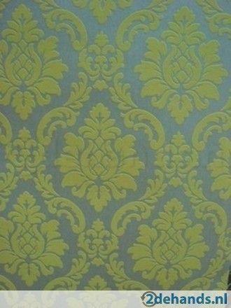 lime groen zilver barok behang vinyl