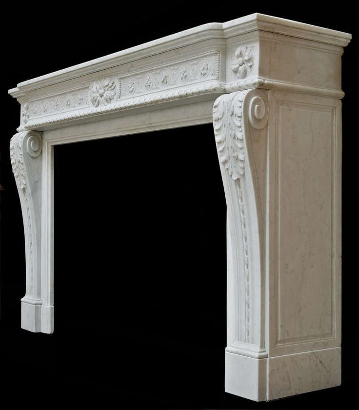 "Antique Louis XVI ""Macaron"" Fireplace in Carrara Marble, 19th Century 