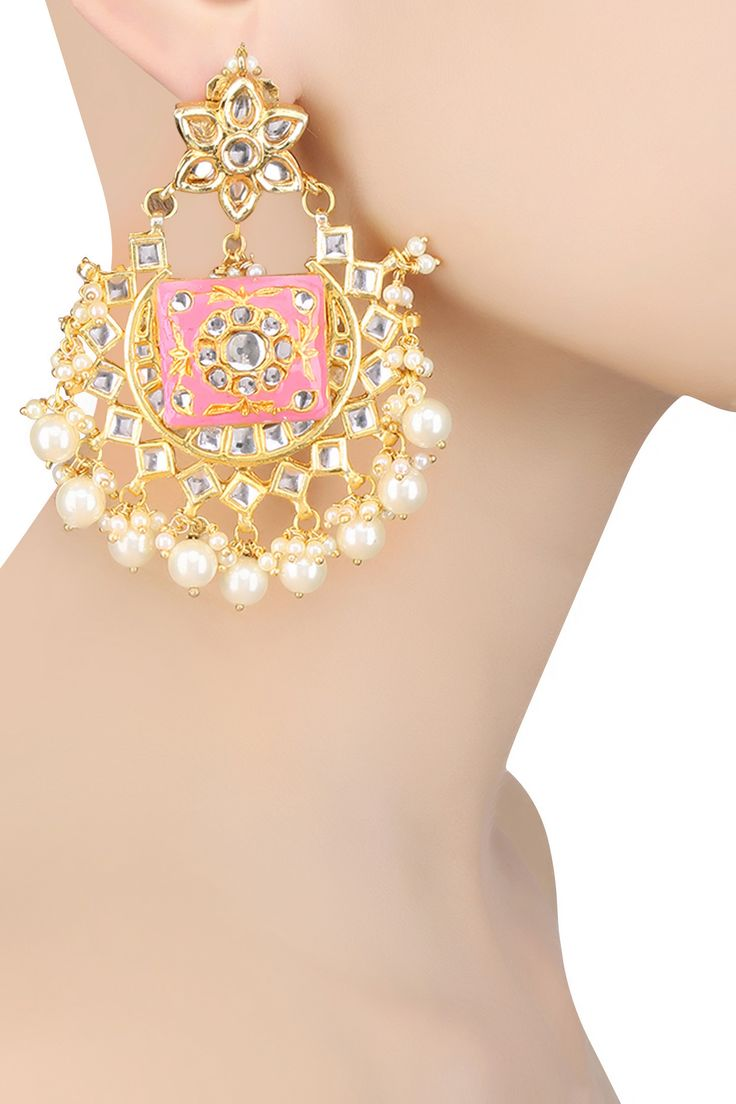 Just Jewellery presents Gold plated square pink thewa piece chandbali earrings…