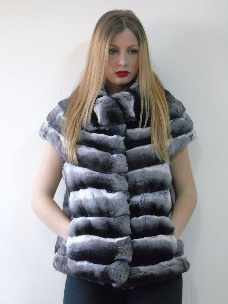 REAL BRAND NEW CHINCHILLA FUR VEST  COAT FULL SKINS SAGA FUR MEXA PELZMANTEL  #Handmade #Vest