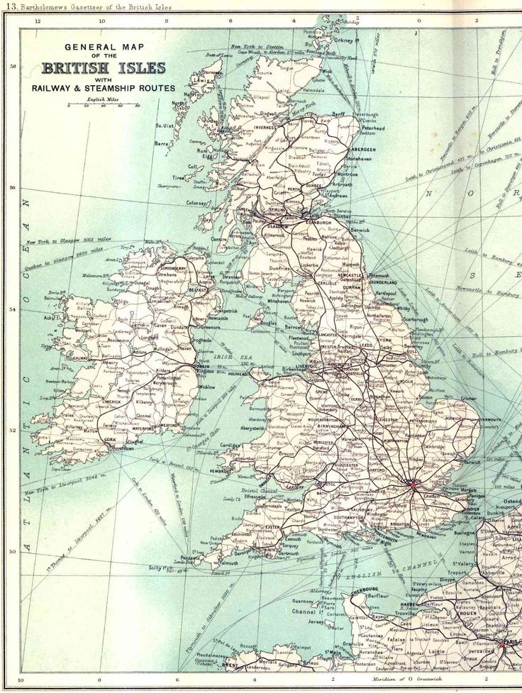 British Railway and Sea Routes in 1900 #map #uk #ireland