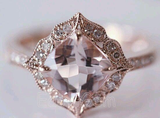 Engagement Ring - Art Deco Cushion Diamond Rose Gold Engegement Ring - ES1354CURG