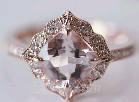 Engagement Ring - Art Deco Cushion Diamond Rose Gold Engegement Ring - ES1354CURG
