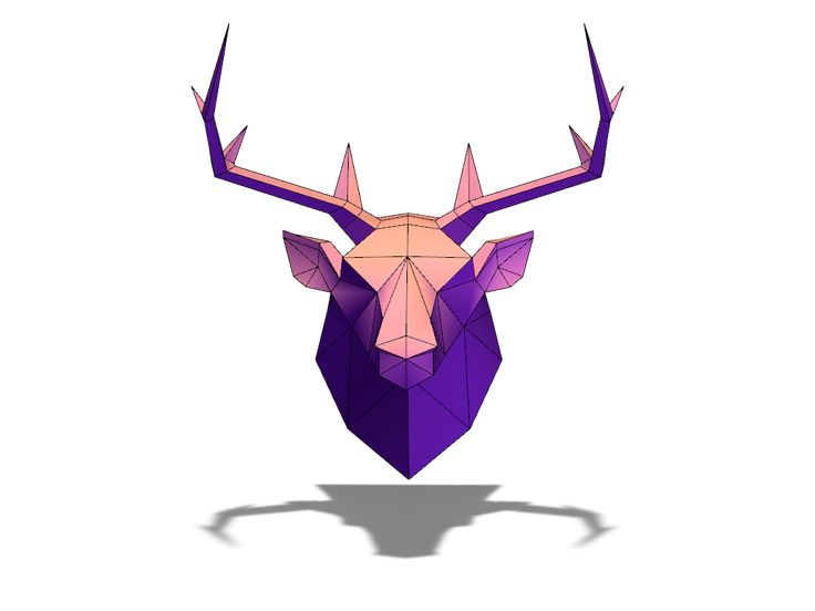 Lowpoly deer head - a 3D model created with VECTARY - the free online 3D modeling tool #3Dprinting