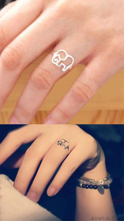 So cute elephant ring ! Lovely Simple Hollow Elephant Silver Ring #ring #elephant