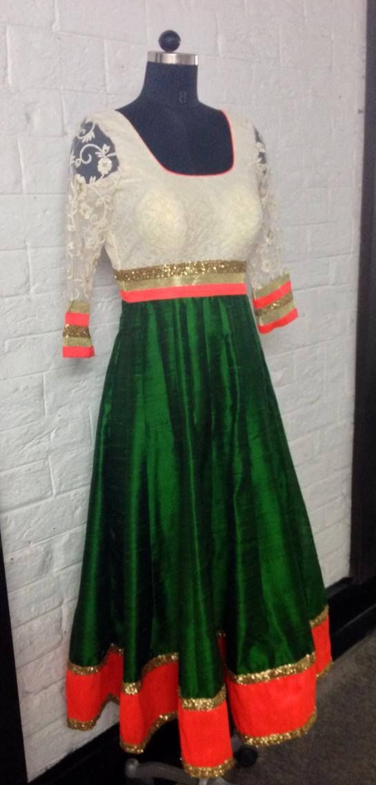 White, orange and green anarkali dress. #IndianFashion