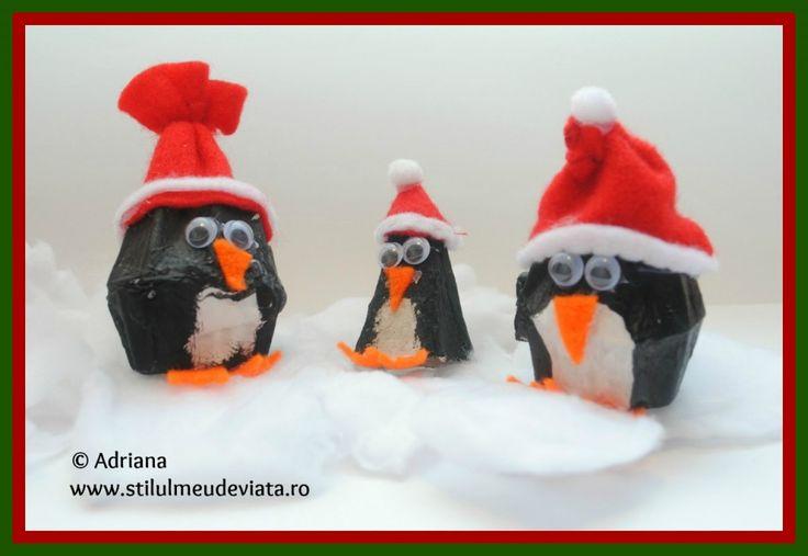 Egg carton penguin craft  /  Pinguin din cofraj de oua