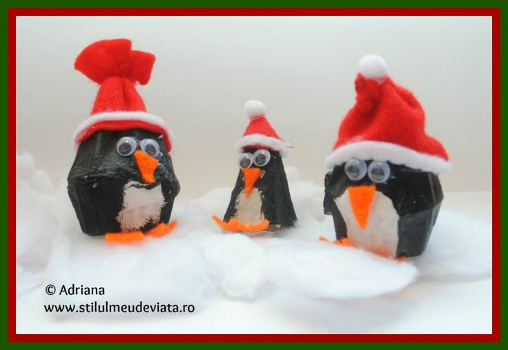 Egg carton penguin craft  /  Pinguin din cofraj de oua