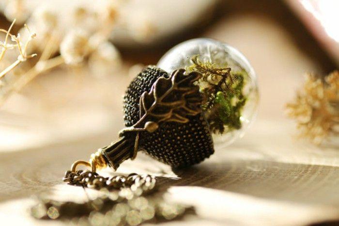 Pendants glass brass Acorn motif Moss handmade jewelry