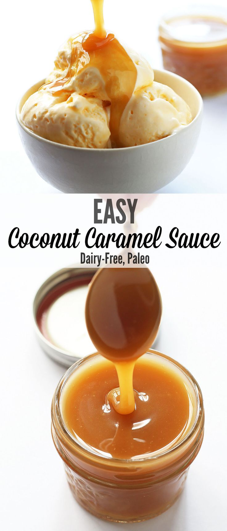Learn how to make this amazing and easy caramel sauce. It is made with coconut sugar + coconut cream so it is dairy-free and paleo friendly.