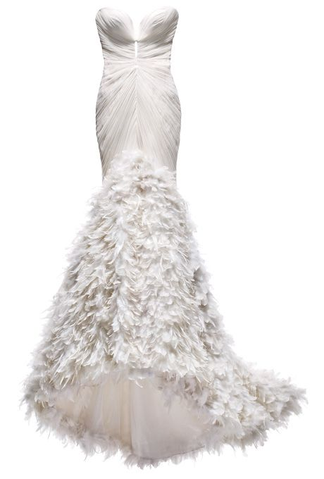 Brides.com: Wedding Style Inspiration: Feathers. Silk-tulle mermaid with feathers, $8,300, Mark Zunino exclusively for Kleinfeld  Browse more mermaid wedding gowns.