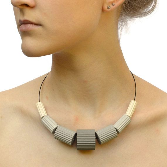 Shades of light grey Necklace LUNA by PaperStatement on Etsy, €33.00