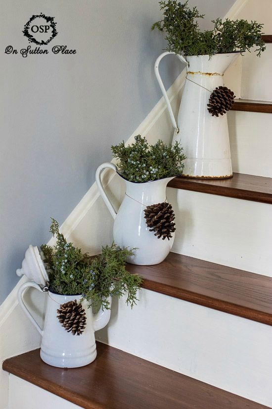 Fresh juniper in vintage enamelware. Easy DIY Christmas decor!