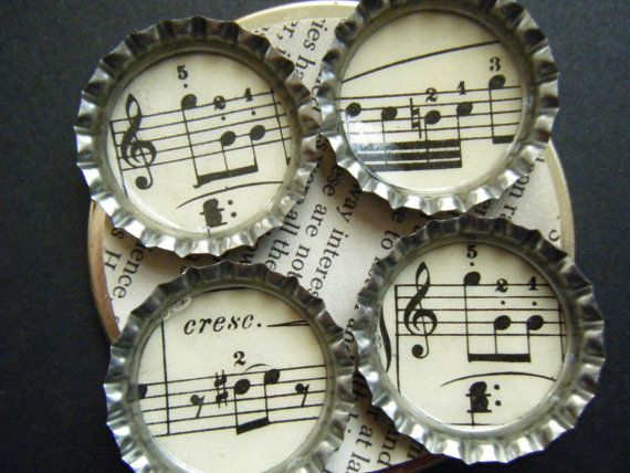Vintage Music Song Musical Bottlecap Magnets Recycled Upcycled Paper Materials