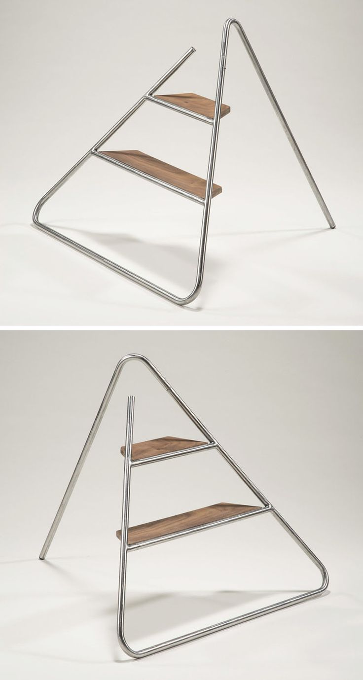 This step ladder is designed to hang on the wall like a piece of art
