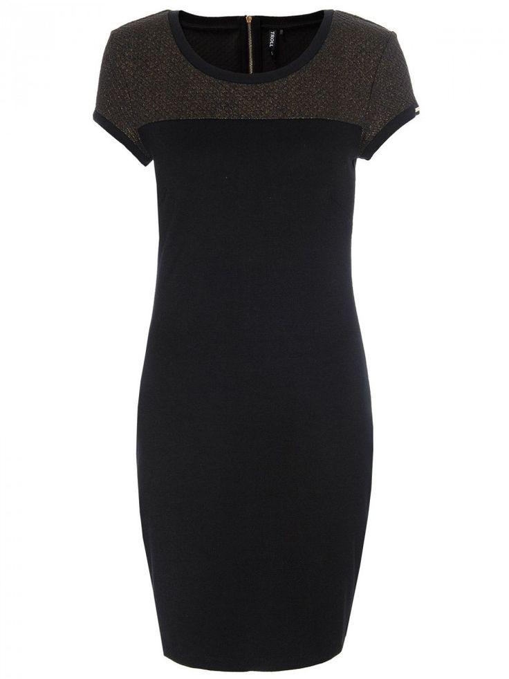 Γυναικείο κομψό κοντομάνικο φόρεμα Χρώμα: Μαύρο