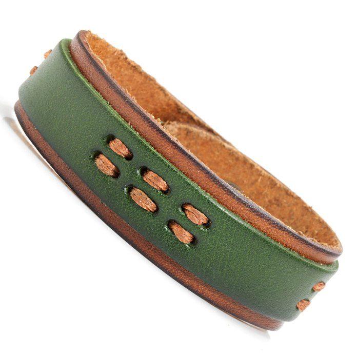Urban Chief Mens Leather Bracelet Cuff Green Brown | RnBJewellery