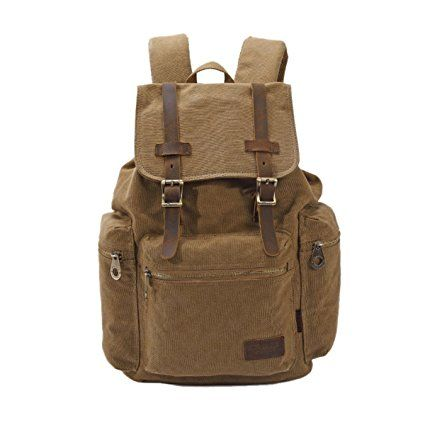 Panegy Canvas Men Women Fashion Casual - Zaino Viaggio Borsa Per La Scuola con Durable Straps - Albicocca