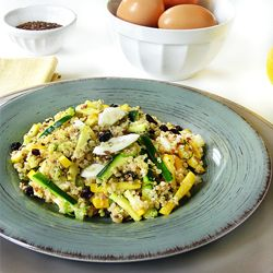 fresh quinoa salad packed with fresh summer squash, red currants and ...