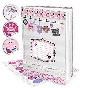 XXL Baby-Tagebuch Kinder-Tagebuch Baby-Buch Album für Mädchen DIN A4 SCHÖN, DASS DU DA BIST + 35 Aufklebern in rosa pink, 136 Seiten + Inhaltsverzeichnis; Geschenk werdende Eltern