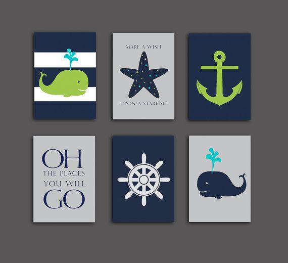Nautical Nursery  Whale nursery art print, nautical Baby shower gift Lime Navy blue nautical decor set of 6 prints, starfish 5x7 PRINTABLES on Etsy, $18.00