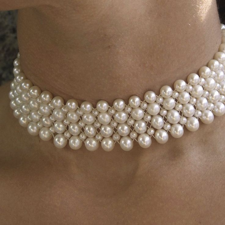 Classic woven pearl choker, by Marina J