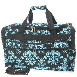 Large 22 Black Blue Damask Print Duffle Dance Gym Bag Luggage Carry On WomenGymBags