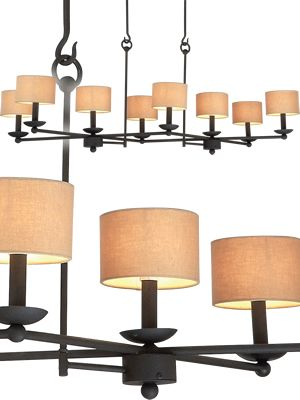 Kalco Charlestowne 8-Light Island 4838B/S195 in Black finish with S195 Beige drum shades  Select from Kalco finish options. Price varies depending on finish and whether shades are selected.  Ideal for a rectangular Table, the eye-catching Charlestowne chandelier is the perfect choice for rustic settings.  Art Deco, Art Nouveau, Rustic & Eclectic Pool table & Island Lights - Brand Lighting Discount Lighting - Call Brand Lighting Sales 800-585-1285 to ask for your best price!