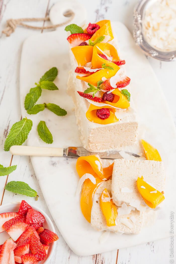 Mango and Coconut Semifreddo Recipe - a beautiful dairy free and refined sugar free summer treat. Get the recipe at deliciouseveryday.com