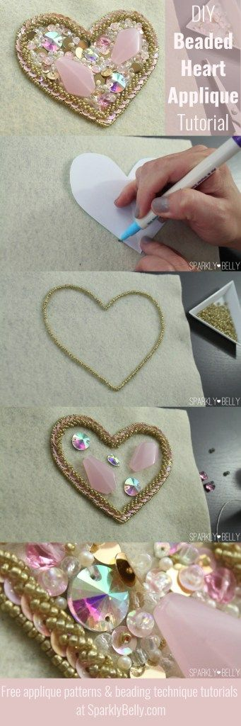 DIY beaded heart applique tutorial - dance, wedding, decor