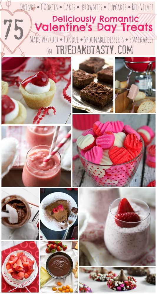 75 Deliciously Romantic Valentines Day Treats // Looking for the perfect treat to make for your special holiday? Look no further, this round up of deliciously romantic recipes has 75 fantastic recipes for you all in one place! #valentines #holiday #roundup #treats #dessert // Tried and Tasty