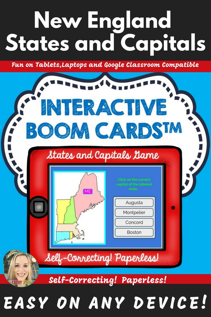 New England States and Capitals Boom Cards, Games, Geography, Map ...