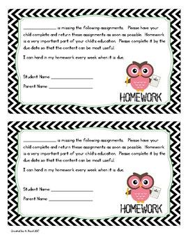 Neat Missing Homework Sheet when students don't turn in their homework.  Reminder to turn in homework.