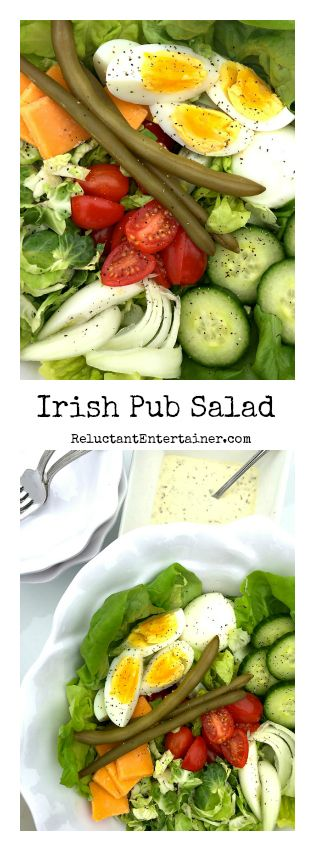 Irish Pub Salad served with Tarragon Dressing; perfect for a St. Patrick's Day Party!