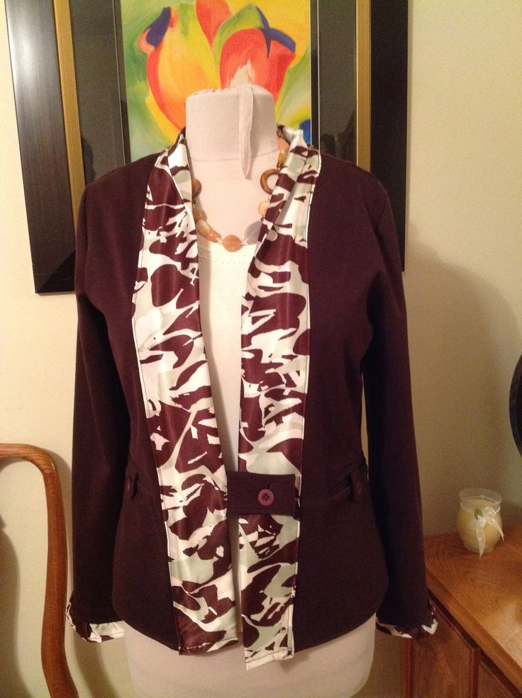Redesign the front of a blazer with a silk scarf I had hanging around