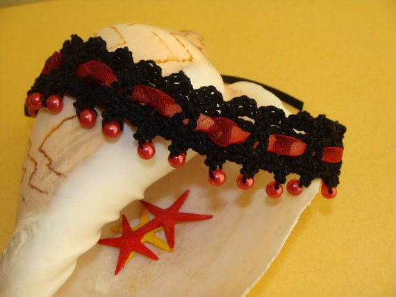 Unique Handmade Crochet Choker Necklace with Burgundy Beads and Burgundy Organza Ribbon, Modern, Unique Gift