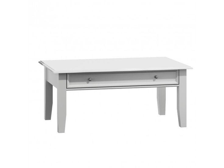Belluno Elegante drevený konferenčný stolík, biely, masív, borovica