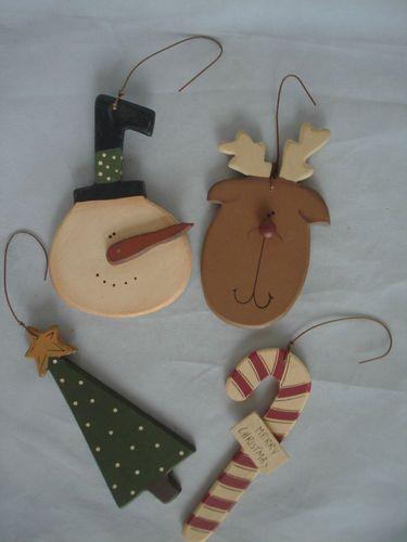 Reindeer Christmas Tree Snowman Candy Cane Ornaments + Dear Santa Primitive 5pc