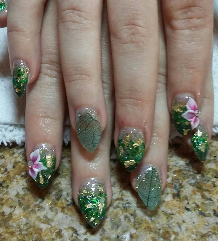 223 best nails by me images on pinterest nailart nails design poison ivy stilleto nails with 3d flowers and skeleton leaf prinsesfo Image collections