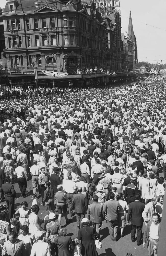 Victoria, Australia 1960s: Check out the clothes! A time tunnel. 1960: Crowds celebrate Moomba in Melbourne. Picture: Herald Sun Image Library