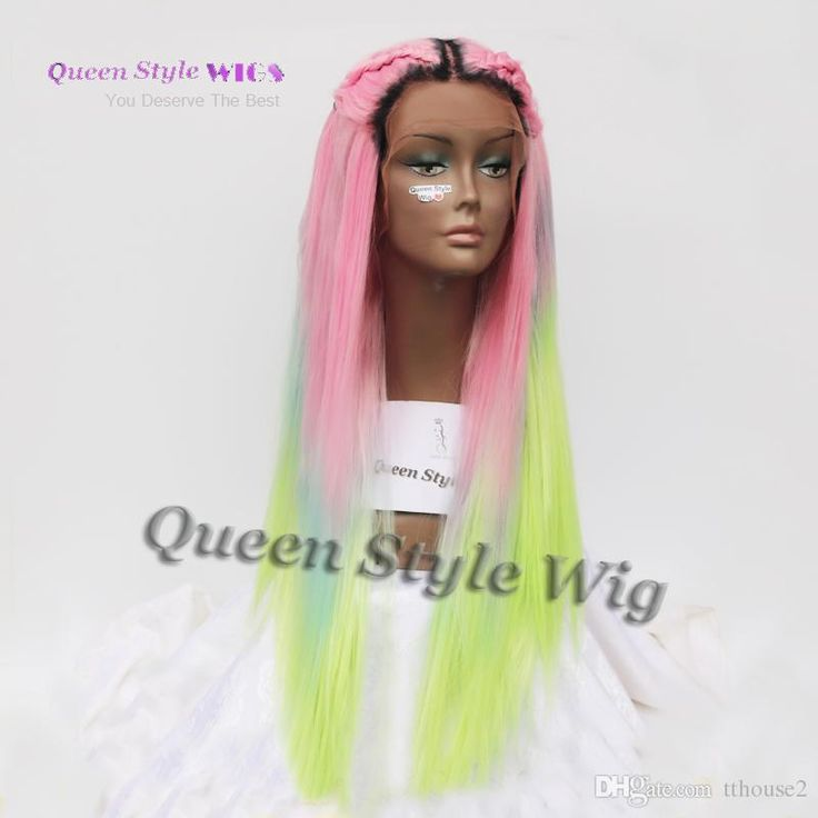 Cheap Mermaid Colorful Rainbow Hair Wig Synthetic Pastel Rainbow Color Pink/ Bright Blue/ Fluorescent Green Ombre Hair Lace Front Wig At Wholesale Price $50.06, Wig Styling Hair Pieces Buns From Tthouse2  Dhgate Mobile