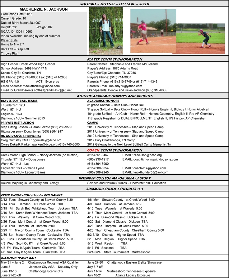 softball resume layout would work for any sport fyi
