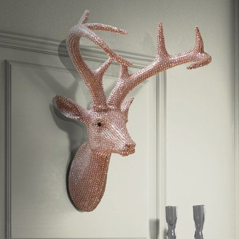 Star Studded Stag Wall Decoration in Pastel Pink. Large detailed stag head covered by 100's of individual diamante decorative crystals that sparkle when caught by the light ~ Designed to be hung on the wall and add a touch of celebrity glamour to your home. Click to shop for yours.