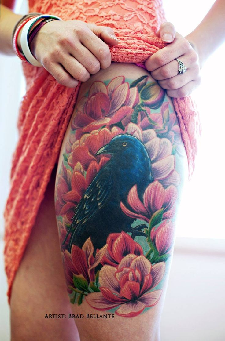 Realistic Raven and Flowers Thigh Piece by Brad Bellante, Human Canvas Tattoo Studio, Fredericksburg