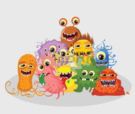 Cartoon cute monsters and bacterias, background photo