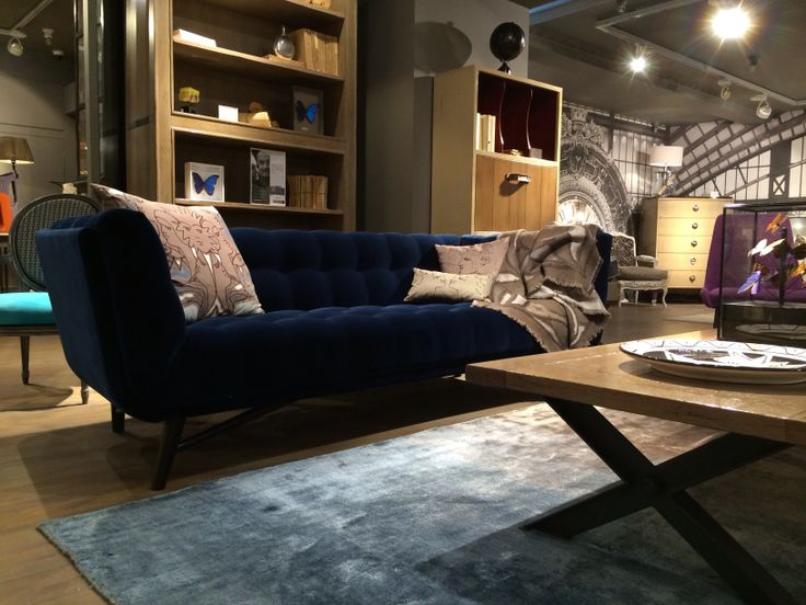 Roche Bobois Blue Velvet Sofa Interior Design Living