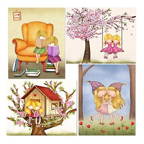 """Sisters Shared Room Wall Posters Decorating Twins Bedroom Girls Nursery Prints Decoration 8x10 / 11x14 Set of 4 Custom Hair and Skin Color. A set of 4 art prints for girls room (unframed) *Available in a variety of different hair/skin colors, this personalized art will look fantastic anywhere! *Printed on photographic Luster paper using pigment ink, guaranteed to last forever so it's rich details and vibrant colors can grace your life always! *Available prints size: 8""""X10"""" (20X25cm)…"""