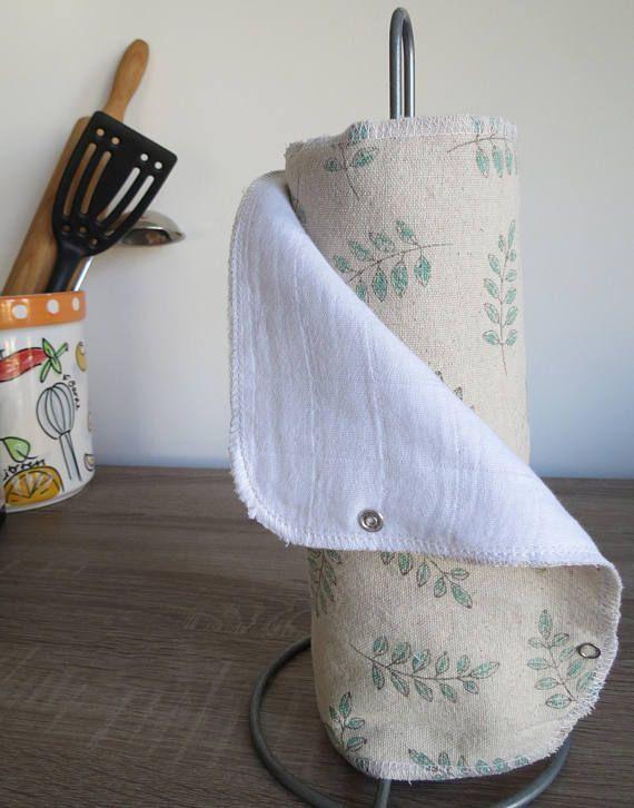 Wasbare keukenrol – Herbruikbare stoffen servetten – Keuken doekjes – Duurzaam leven – Groen witte bloemen print
