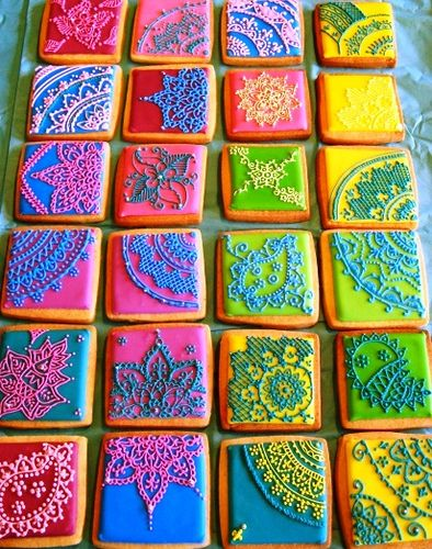 cookies - sooo gorgeous: Colors Cookies, Cake, Idea, Sugar Cookies, Inspiration Cookies, Food, Decor Cookies, Henna Design, Henna Tattoo