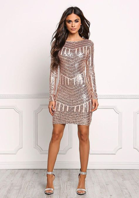 Rose Gold Sequin Open Back Bodycon Dress - Occasions - Dresses ... d0b4fe588d62